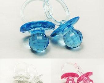 12PCS Large Plastic Diamond Cut Pacifiers, Baby Shower Pacifiers, Blue Game Pacifiers, Pink Pacifiers, Pacifier Necklace, Pacifier Favors