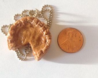 polymer clay pumpkin pie necklace