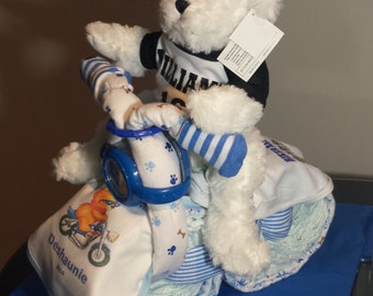 Motorcycle Diaper Cake Baby Shower Gift for Mom with Teddy Bear Personalized