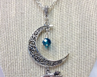 Running Greyhound  and Crescent Moon Pendant Necklace