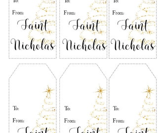 Instant Printable Christmas Gift Tags, Holiday Tags  - From Saint Nicholas - Instant Download