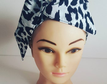 Snow Leopard Print Pin Up Hair Tie
