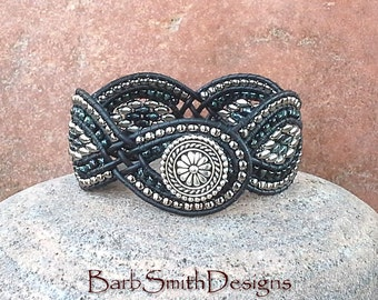 Black Silver Beaded Leather Cuff Wrap Bracelet - The Twisted Sister in Black Marble