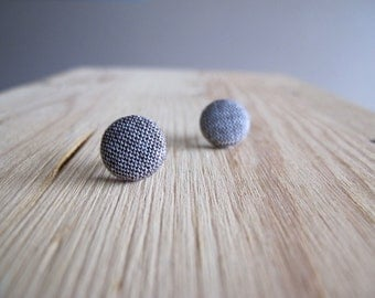 Beige and Dark Brown Fabric Button Stud Earring