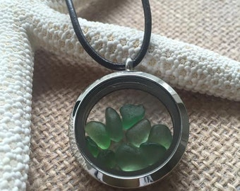 """Floating Memory Locket Necklace """"Emerald Dreams"""" Genuine Sea Glass from England. FREE UK Shipping"""