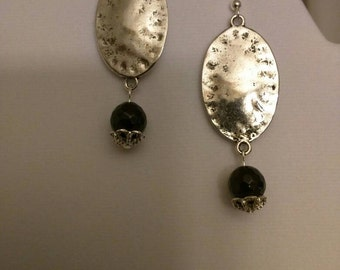 Antique Silver and Onyx Dangle Earrings