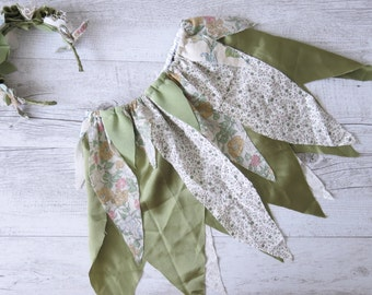 Sage Fairy Skirt Flower Crown Gypsy Green Skirt Faerie Skirt Girls Birthday Outfit Shabby Chic Photo Prop Outfit Fairy Tutu Party Costume