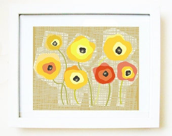 Yellow poppies, PRINT of an original illustration, flower illustration, flower art, art print, woven,yellow, red, poppy, stems,