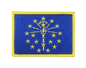 State of Indiana Flag Patch US Embroidered Patch Gold Border Iron On patch Sew on Patch badge Patch