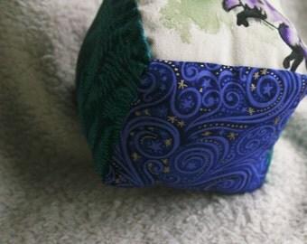 Purple Fox Baby Block, Hand Painted Baby Toy, Fox Baby Block