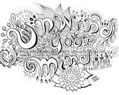 Unwind Your Mind (Downloadable colouring page, Adult colouring, Zendoodle, Zoodle, Doodle, Art Therapy, Relaxation, Buy!)