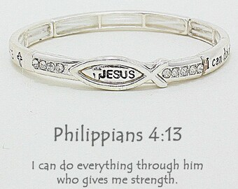 I can do all things thru Christ who strengths me Philippians 4:13 Bracelet