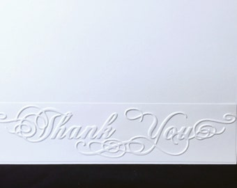 Embossed Thank You card, elegant card, blank inside card, unique card, masculine card, feminine card, beautiful card