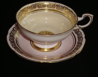 DW Paragon Creamy Pink and Yellow with Gold Cup and Saucer