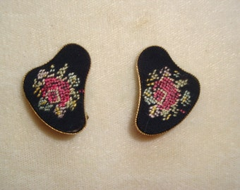 Vintage Petit Point Roses Clip Earrings
