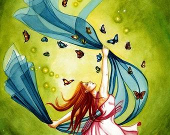 She elf dancing,dancing,She Elf, fantasy art, fantasy artwork,gift ideas,fairy art,artwork,prints for sale, green,butterfly, red hair,gift