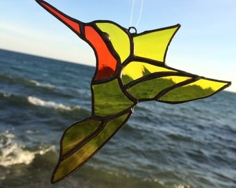 Stained Glass Hummingbird Suncatcher, Orange And Yellow Hummingbird, Tiffany Glass Bird,