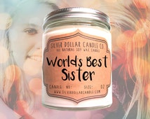 World's Best Sister Candle 8oz | Gift for her, Gift for Sister, Birthday, Sister Gift, Sibling Gift, Personalized candle, scented soy candle