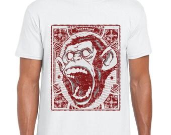 Screaming Monkey Fashion Tee T-Shirt Top  Mens - Ladies - Kids -White