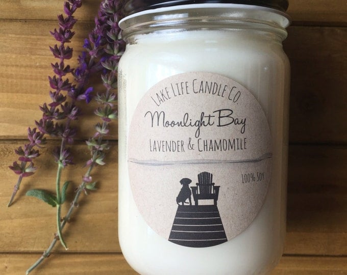 Moonlight Bay Lavender and Chamomile Handmade Soy Candle: Lake Life Candle Co. Made in WI