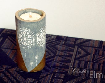 Hand Made and Painted White Dandelion and Gold Concrete Tea Light Candle Holder