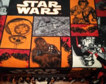 """READY TO SHIP Star Wars """"The Force Awakens"""" Knotted Fleece Throw With Antipill Backing"""