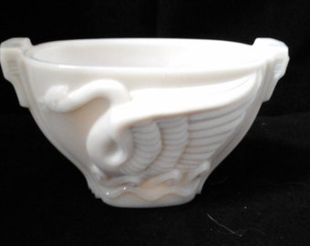 Antique Swan Song by Macbeth-Evans Glass co 1930 vintage Monax glassware Art Deco bird