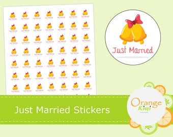 Just Married Stickers  - Wedding Treat Bag Stickers - Wedding Envelope Seals - Just Married Favor Stickers
