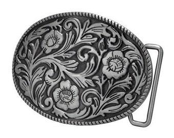 Womens ornate flowers western cowgirl oval belt buckle.jpeg