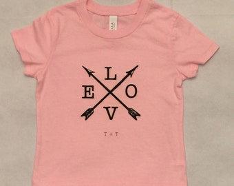 LOVE with Arrows Girls' Pink Jersey Knit Tee