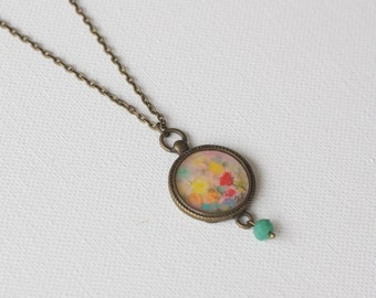 Hand Painted Pendant Necklace/ Bohemian Vintage style/ Blossom Collection