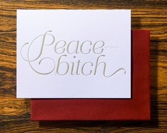 Peace - Funny Letterpress Holiday Christmas Card