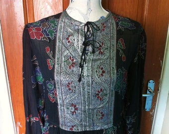 1970's/80's Black Long Dress with Silver/Green/Red Floral Detail