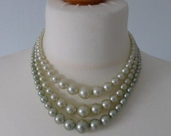 Vintage 3 Strand Faux Pearl Necklace