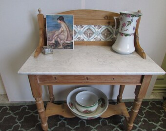 A Pine and Marble Victorian Washstand.