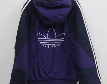 Vintage Adidas treefoil Sweater Hooded  90's Big Logo Hip Hop Rare S