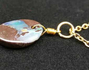 BEAUTIFUL COLORS!! Boulder Opal Necklace!!
