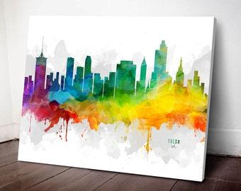 Tulsa Skyline Canvas, Tulsa Print, Tulsa  Art, Tulsa Gift, Tulsa Cityscape, MMR-USOKTU05C