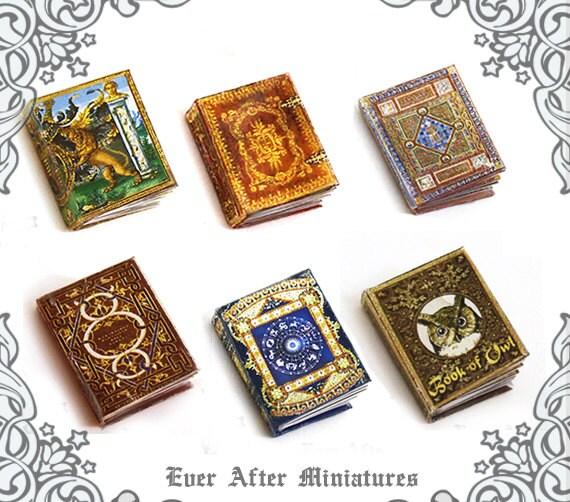 6 ANTIQUE Dollhouse Miniature Book Set Complete Collection