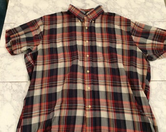 Vintage Plaid Button Down Shirt, XL || Soft and Thin