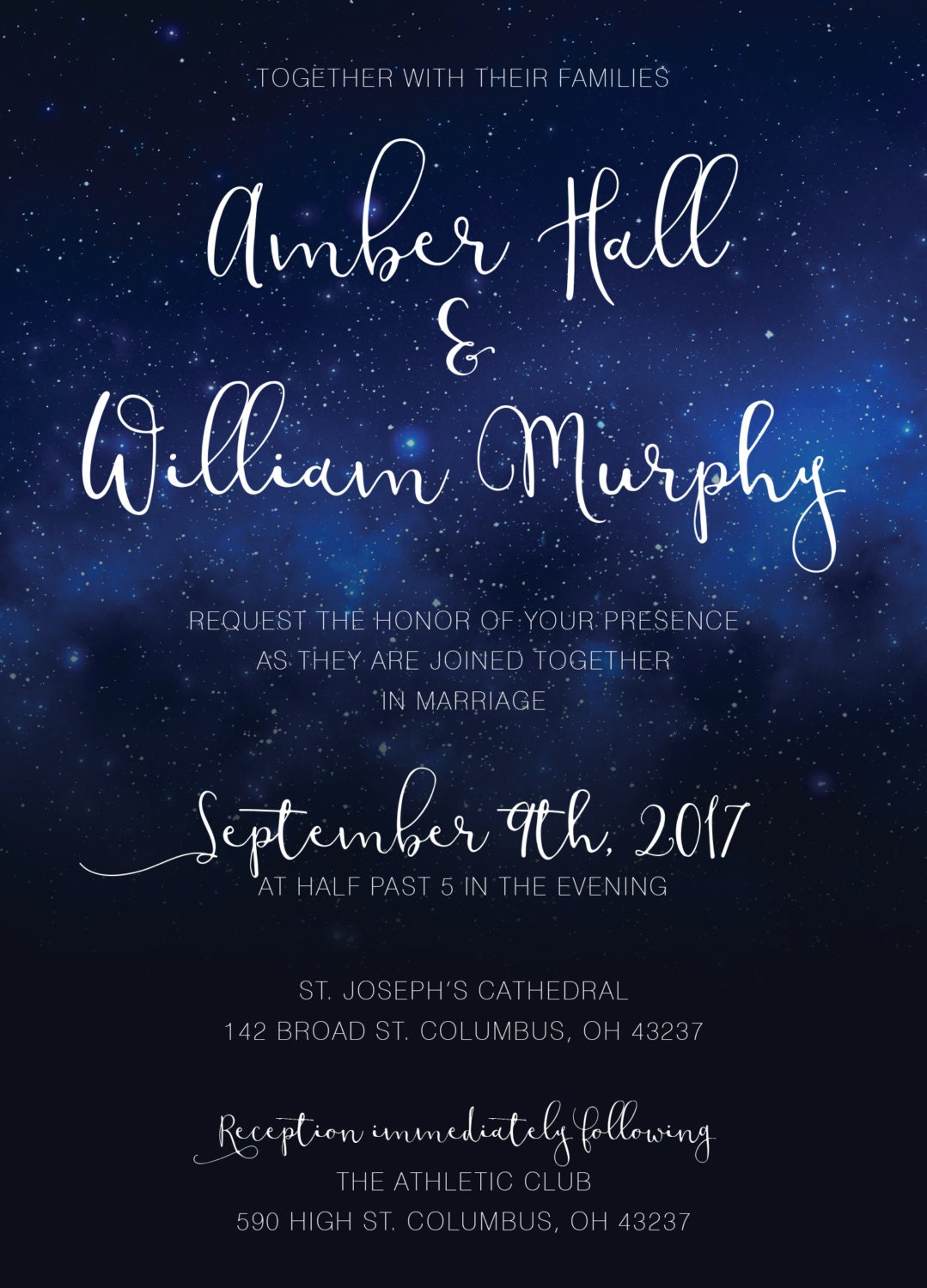 Stars Wedding Invitations Set Printed - Starry Night, Classy, Sky ...