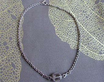 Wrapped Silver and Crystal Necklace