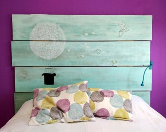Recycled American pine wood headboard.