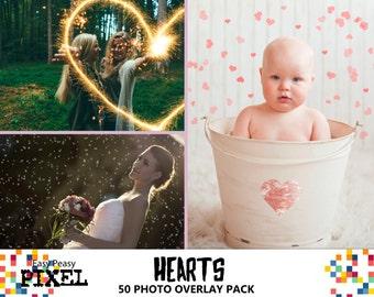 HEARTS Photoshop OVERLAYS, VALENTINE'S Overlays, Valentines, Photoshop Overlay, Hearts Bokeh Overlays, Sparklers Overlays, Overlay Bundle