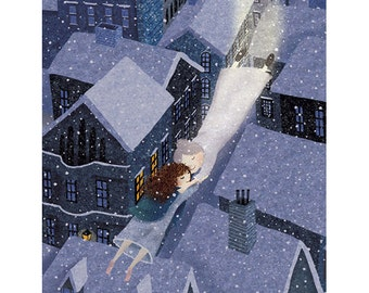 Soaring Over Nighttime Village Art Print of the Little Matchstick Girl