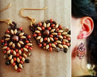boho earrings matte gold/terracotta !!