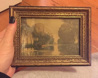 Vintage Framed Stream with Trees Watercolor