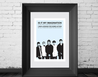 Oasis, Liam and Noel Gallagher. Poster. A4, A3 and A2 poster sizes available. Illustration By Mike Moran