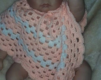 Baby's crochet poncho and  hat 0-6 months
