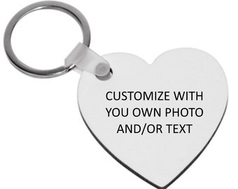 Personalized Heart Shaped Key Ring - Customized with your own photo